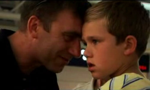 Tony Wasilewski and his son Brian on the day Brian and his mother left for Poland. (from video by Dreams Across America)