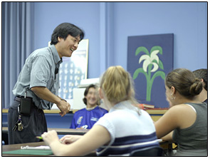 "Kobayashi Sensei (""Sensei"" meaning ""teacher"") teaches a class at Hall-Dale High School."