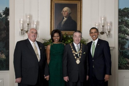 Billy Lawless (left) met at the White House with the Mayor of Galway, and President and Michelle Obama on St. Patrick's Day 2009