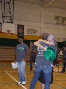 Shauna-Kay and I hug after the headshaving.