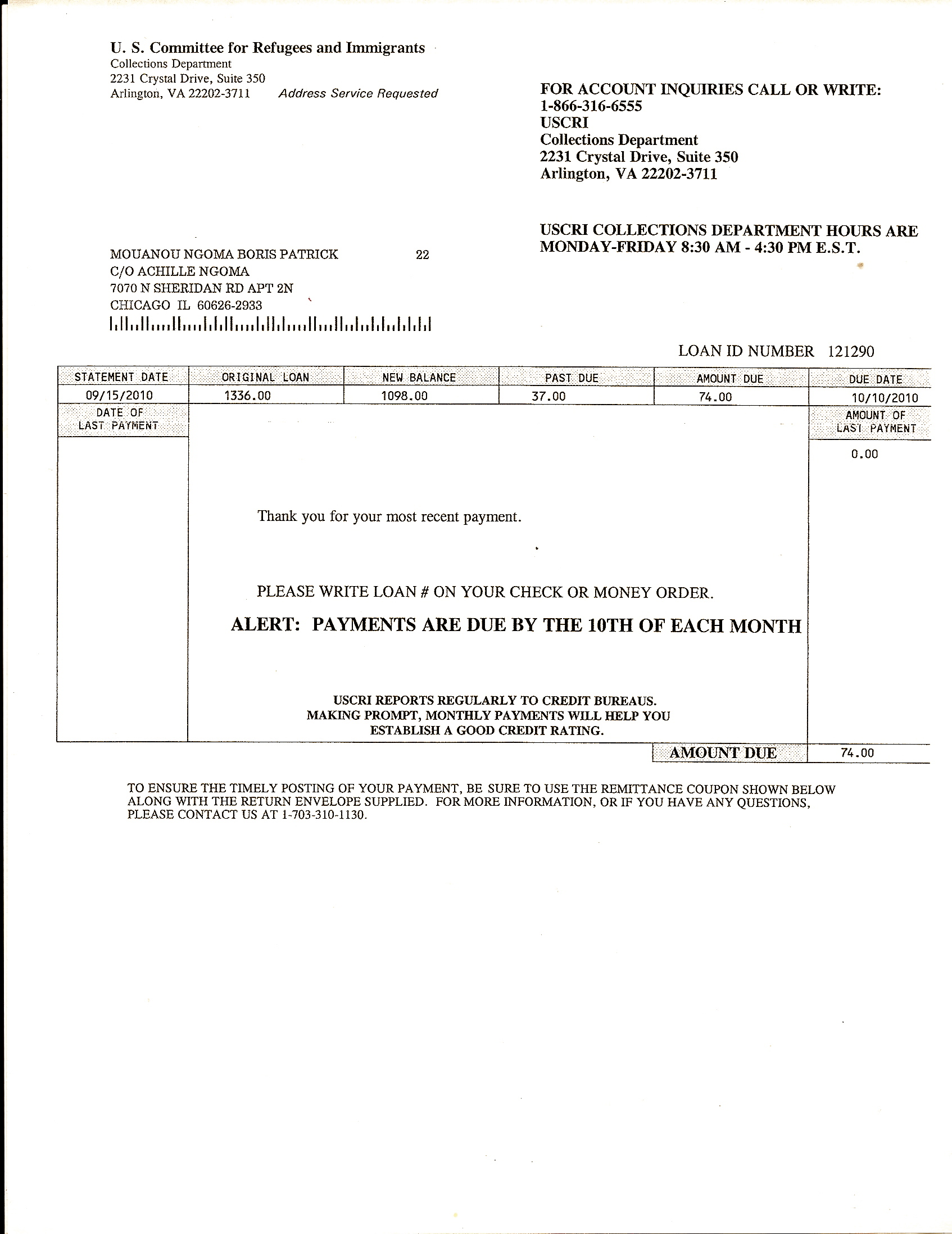 invoice for ngoma s travel loan payment plan immigrant below is one of ngomaâ s monthly travel loan invoices issued by his sponsor agency the uscri failure to pay an invoice is punishable by law and can