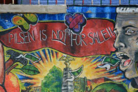 Mural outside of Casa Aztlan on S. Racine Ave.