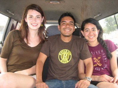 Lauren (left), Ronny (center), and fellow club member Rocio during the service trip to Guayaquil, Ecuador.