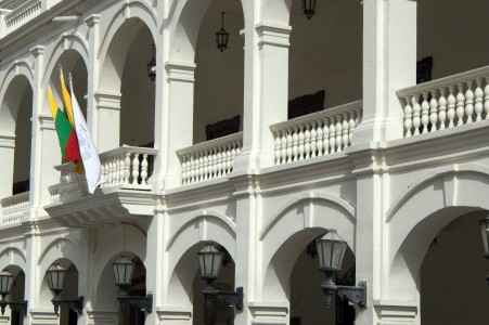 A government building in the old town area of Cartagena, Colombia. Photo by Blake Sobczak